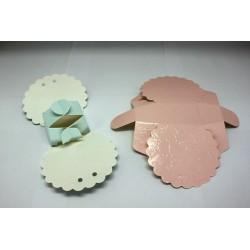 Cajita Carton Montable forma abanico rosa o azul