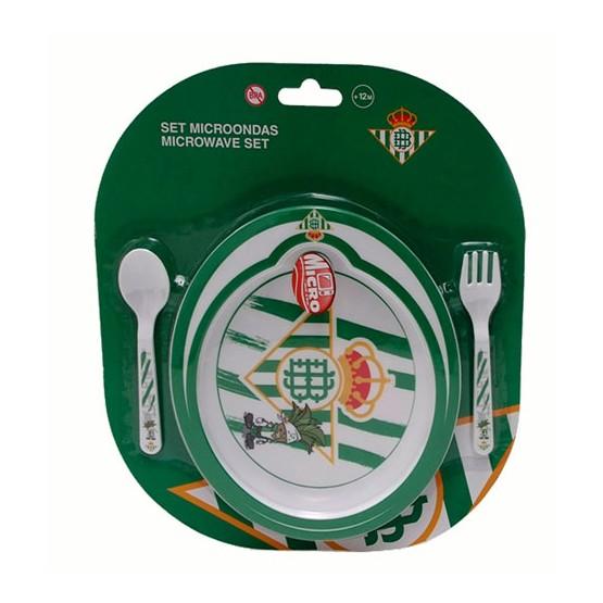 Set Plato Microondas con Cuchara y Tenedor Real Betis