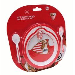 Set Plato Microondas con Cuchara y Tenedor Sevilla FC