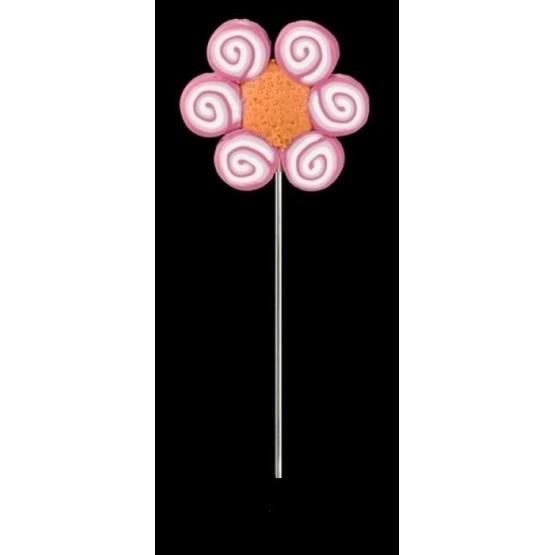 Alfiler de fimo Ref. 1079 Flor rosa espirales