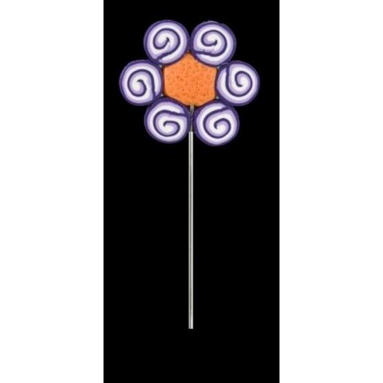 Alfiler de fimo Ref. 1079 Flor morada espirales.