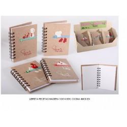 Recetario con tapas de madera y adornos rojos y blancos PC-99476