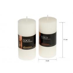 Vela perfumada tubo coco 220gr. en expo. de 6 uni. Mod. 039059