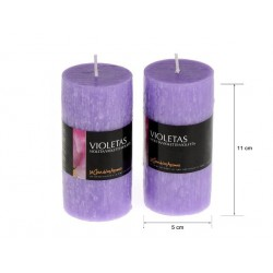 Vela perfumada tubo violetas 220gr. en expo de 6 uni. Mod.040239