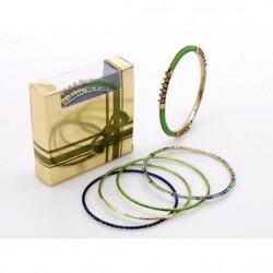 Juego de 7 pulseras oro y verde/azul